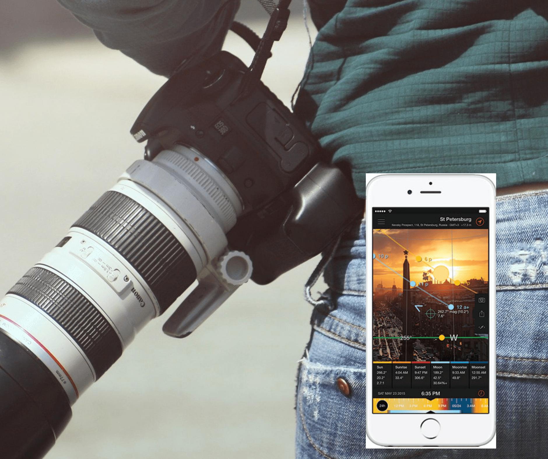 Teil eines Fotografen von hinten mit seitlich umgehängter Kamera und Smartphone im Vordergrund