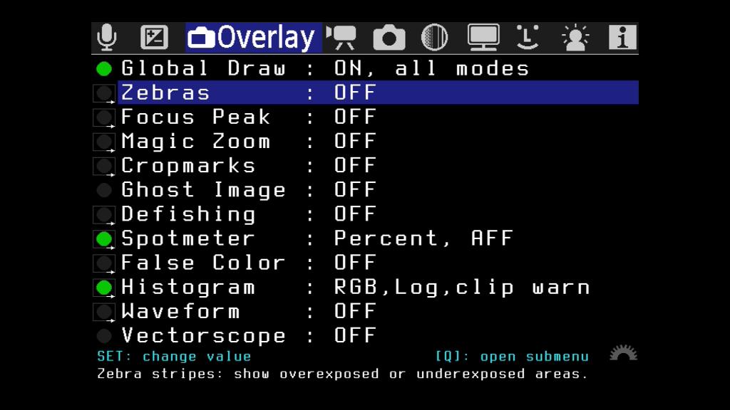 Menü-Bildschirm von Magic Lantern Overlay