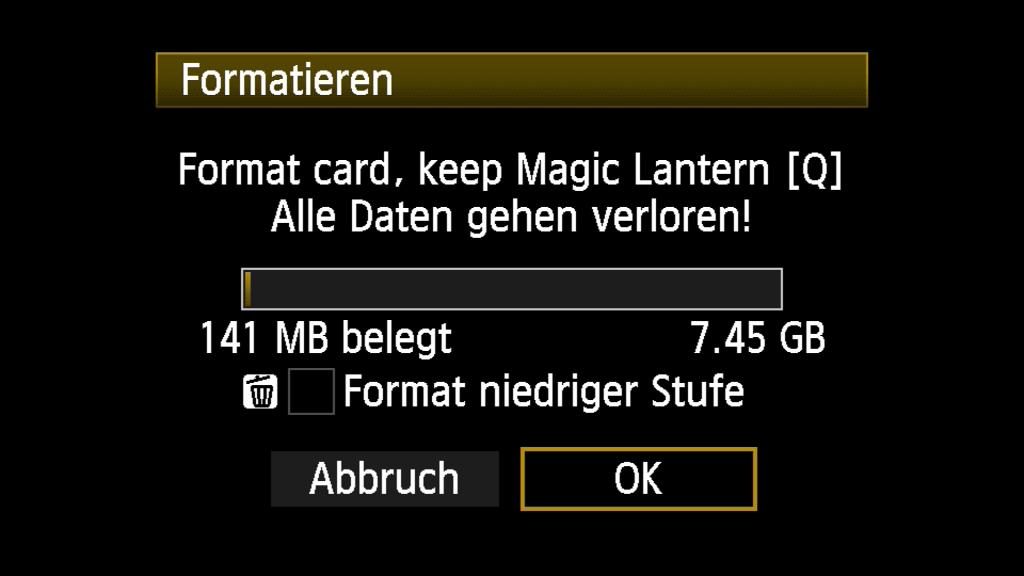 Menübild Karte formatieren und Magic Lantern behalten