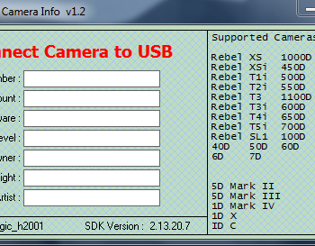 Screenshot vom Programm EOS Camera Info