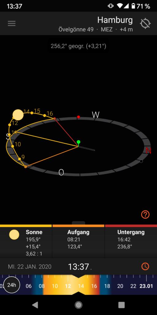 Screenshot des Digitalen Kompass von Sun Surveyor