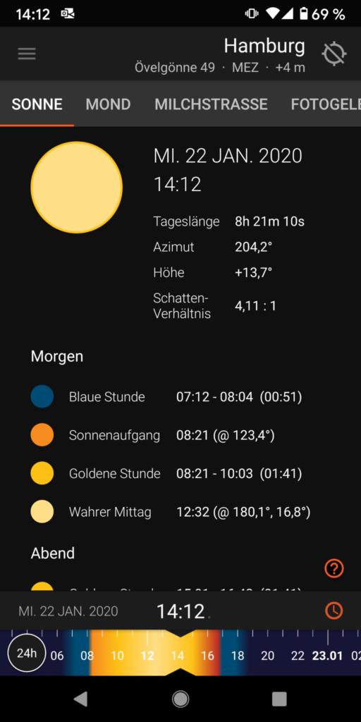 Screenshot der Detailansicht von Sun Surveyor