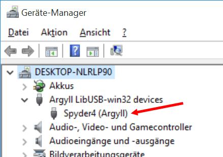 Gerätemanager von Windows mit installiertem ArgyllCMS
