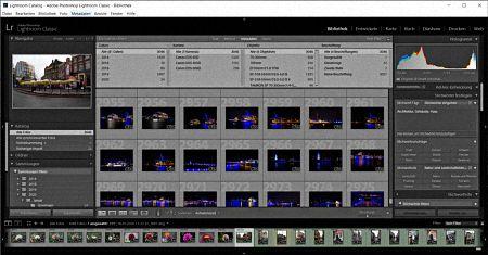 Rasteransicht von Lightroom mit eingeblendetem Metadaten-Filter