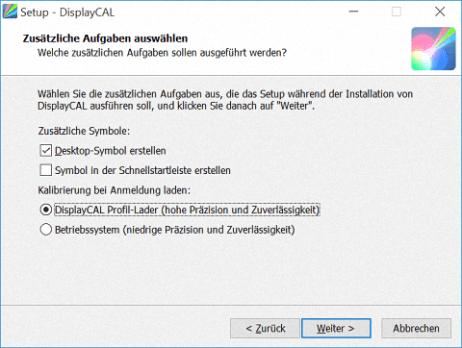 Dialogfeld bei der Installation von DisplayCal