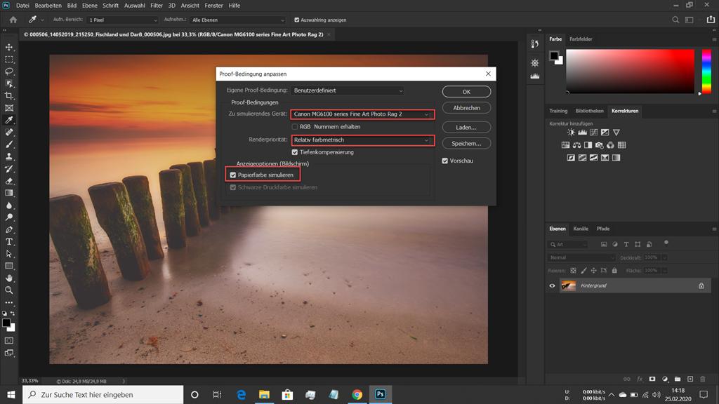 In Photoshop geladenes Bild mit eingeblendetem Dialogfenster zur Einrichtung des Softproofs