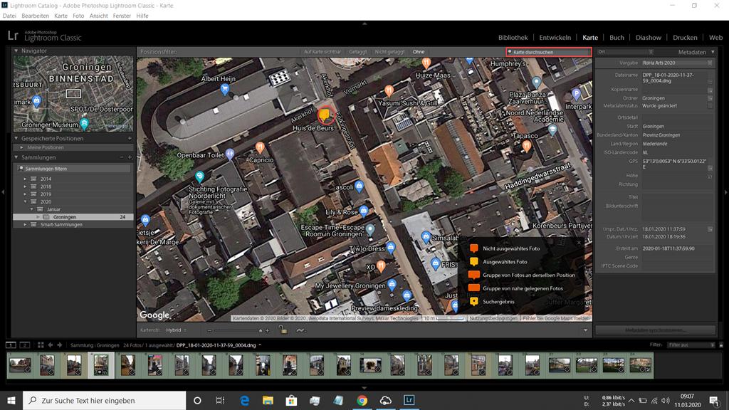 Satellitenbild im Kartenmodul von Lightroom, um ein Bild mit Heotags zu versehen