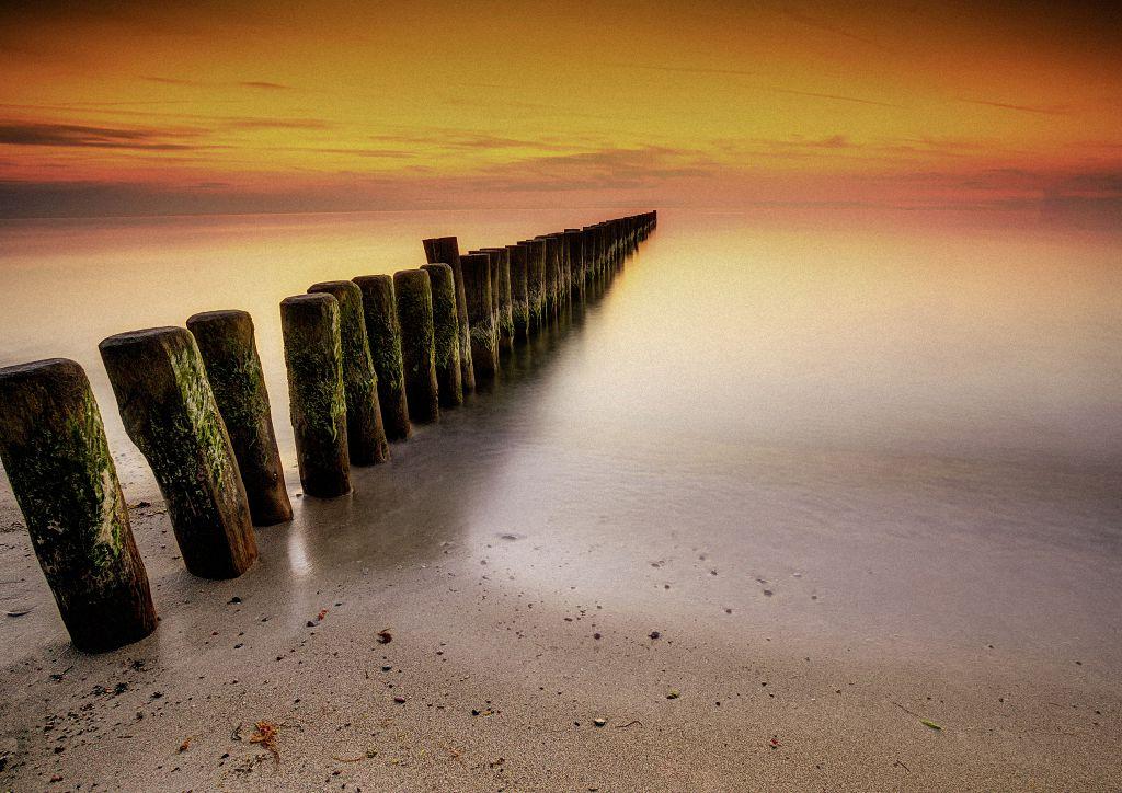 Sonnenuntergang auf dem Darß, aufgenommen mit ND-Filter und dem Funkauslöser Hähnel Captur