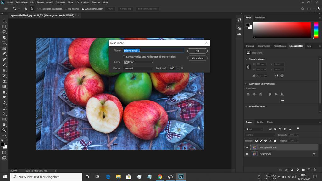 Dialogfeld in Photoshop zum Erstellen einer Schwarz Weiss Einstellungsebene